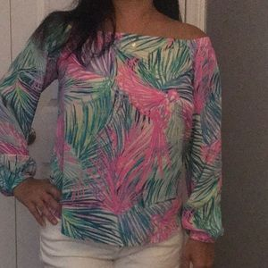 Lilly Pulitzer XS off shoulder top blouse shirt